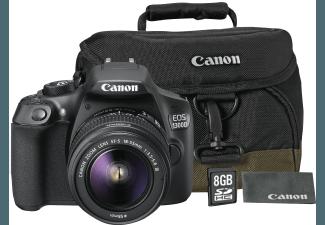 Produktbild CANON EOS 1300D Spiegelreflexkamera inkl. 18-55 mm Objektiv+ Kameratasche 100EG + 8 GB