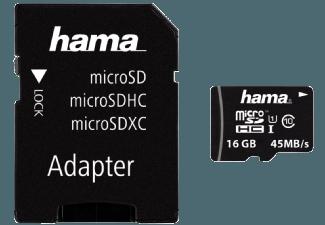 Produktbild HAMA 114733 Micro-SDHC Speicherkarte  16 GB  45 MB/s  Class
