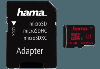 Produktbild HAMA 123980 + A/F Micro-SDHC Speicherkarte  16 GB  80 MB/s  UHS Class