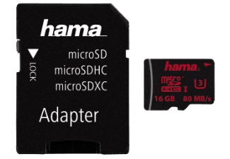 Produktbild HAMA 123986 + Adapter/Action-Cam Micro-SDHC Speicherkarte  16 GB  80 MB/s  UHS Class 3