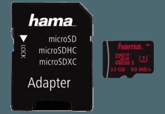 Produktbild HAMA 123987 + Adapter/Action-Cam Micro-SDHC Speicherkarte  32 GB  80 MB/s  UHS Class