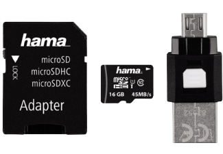 Produktbild HAMA OTG-Zubehör-Set 4-teilig Micro-SDHC Speicherkarte  16 GB  45 MB/s  Class
